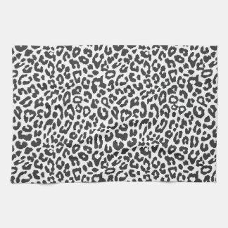 Black & White Leopard Print Animal Skin Patterns Kitchen Towel