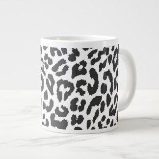 Black & White Leopard Print Animal Skin Patterns Large Coffee Mug