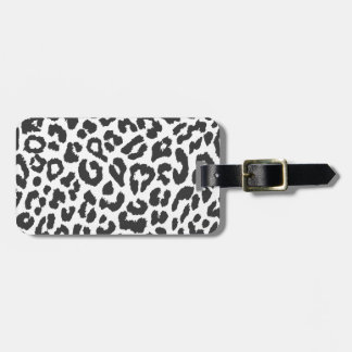 Black & White Leopard Print Animal Skin Patterns Luggage Tag