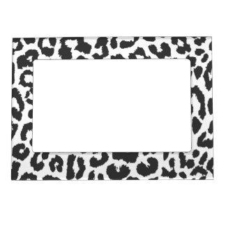 Black & White Leopard Print Animal Skin Patterns Magnetic Frame
