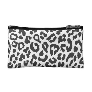 Black & White Leopard Print Animal Skin Patterns Makeup Bag
