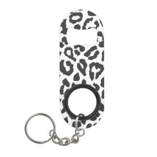 Black & White Leopard Print Animal Skin Patterns Mini Bottle Opener