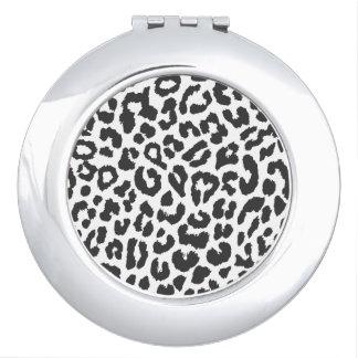 Black & White Leopard Print Animal Skin Patterns Mirror For Makeup