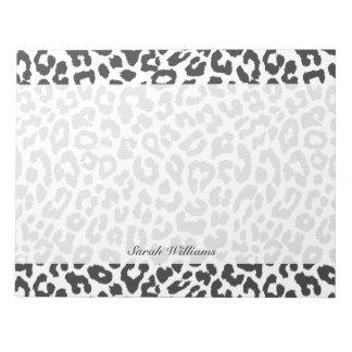 Black & White Leopard Print Animal Skin Patterns Notepads