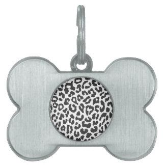 Black & White Leopard Print Animal Skin Patterns Pet ID Tag