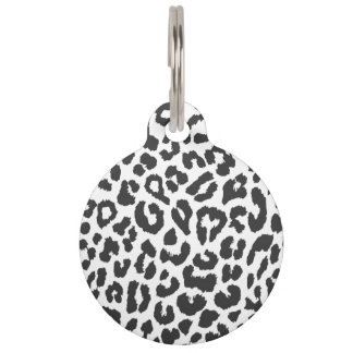 Black & White Leopard Print Animal Skin Patterns Pet Tag