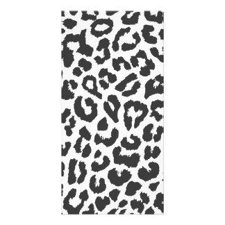 Black & White Leopard Print Animal Skin Patterns Photo Card Template