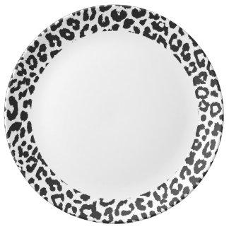 Black & White Leopard Print Animal Skin Patterns Plate