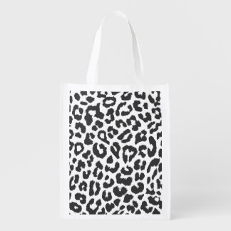Black & White Leopard Print Animal Skin Patterns Reusable Grocery Bags