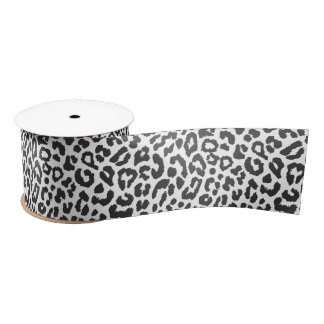 Black & White Leopard Print Animal Skin Patterns Satin Ribbon