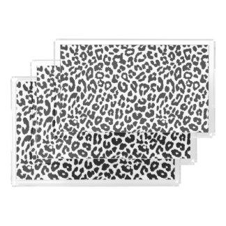 Black & White Leopard Print Animal Skin Patterns Serving Tray