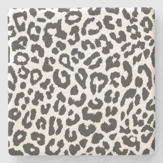 Black & White Leopard Print Animal Skin Patterns Stone Coaster