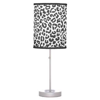 Black & White Leopard Print Animal Skin Patterns Table Lamp