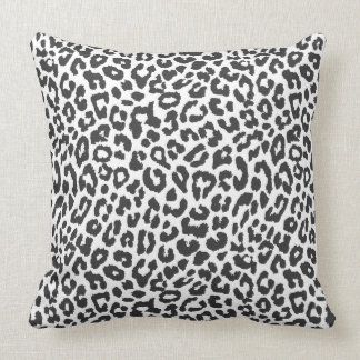 Black & White Leopard Print Animal Skin Patterns Throw Pillow