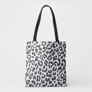 Black & White Leopard Print Animal Skin Patterns Tote Bag