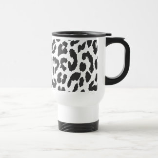 Black & White Leopard Print Animal Skin Patterns Travel Mug