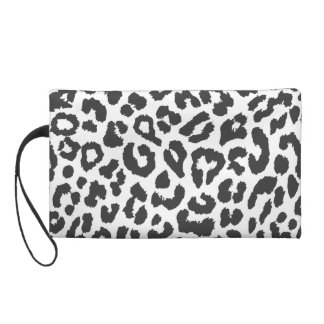 Black & White Leopard Print Animal Skin Patterns Wristlet