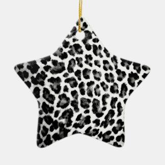 Black & White Leopard Print Ceramic Star Ornament