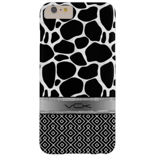 Black & White Leopard Print & Geometric Pattern 2 Barely There iPhone 6 Plus Case