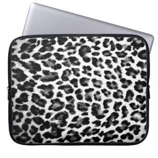 Black & White Leopard Print Laptop Sleeve