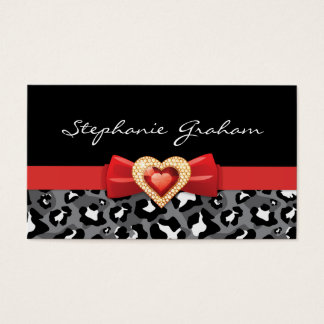 Black white leopard print with red bow & jewel business card