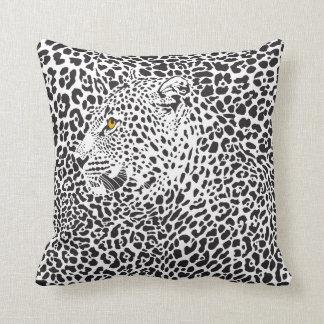 Black & White Leopard Side View Throw Pillow