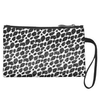 Black White Leopard Wristlet Clutch