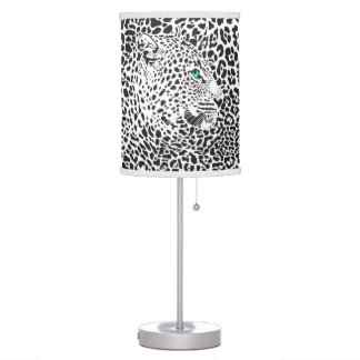Black & White Leopards Camouflaged In Own Spots Table Lamps