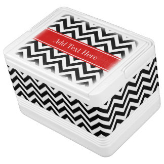 Black White LG Chevron Red Name Monogram