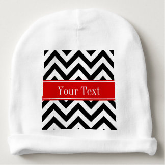 Black White LG Chevron Red Name Monogram Baby Beanie