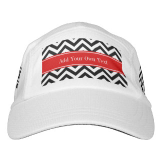 Black White LG Chevron Red Name Monogram Headsweats Hat