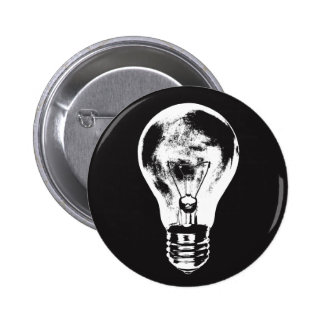 Black & White Light Bulb - Button