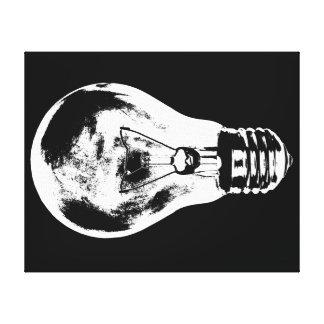 Black & White Light Bulb - Canvas