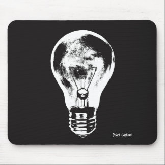 Black & White Light Bulb - Mousepad