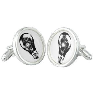 Black & White Light Bulb - Pair of Cufflinks