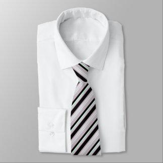 Black White Light Green/Red Stripes Tie