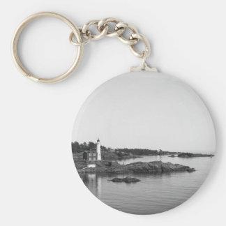 black white light house keychain