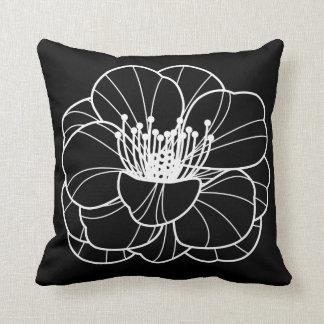 Black & White Lily Illustration Pillow