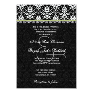 Black White Lime Damask Lace Wedding Recycled Card