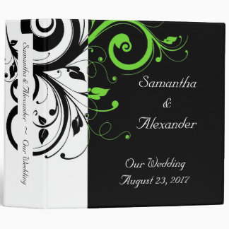 Black/White/Lime Green Bold Swirl Wedding 3 Ring Binder