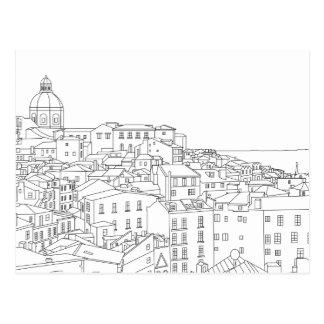 Black & White Line Art Postcard of Lisbon Portugal