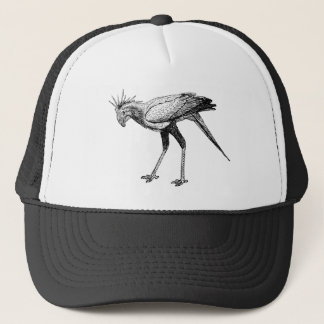 Black & White Line Drawing Secretary Bird Trucker Hat