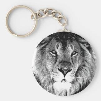 Black & White Lion Basic Round Button Keychain