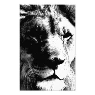 Black & White Lion Custom Stationery