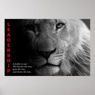 Black White Lion Eyes Motivational Leadership Poster