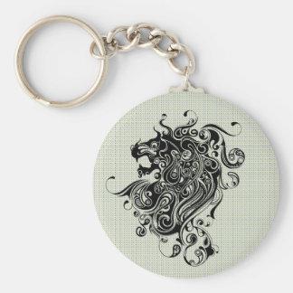 Black & White Lion Head-Tattoo Style Keychain