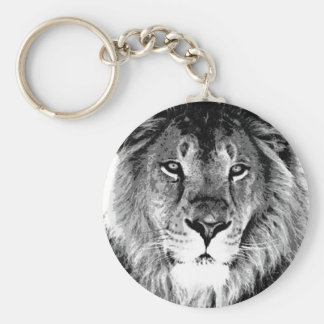 Black & White Lion Keychain
