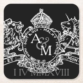 Black White Lion Unicorn Emblem Save The Date Square Paper Coaster