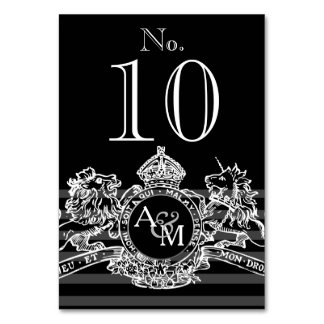 Black White Lion Unicorn Regal Emblem Monogram Card