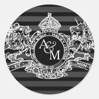Black White Lion Unicorn Regal Emblem Monogram Classic Round Sticker
